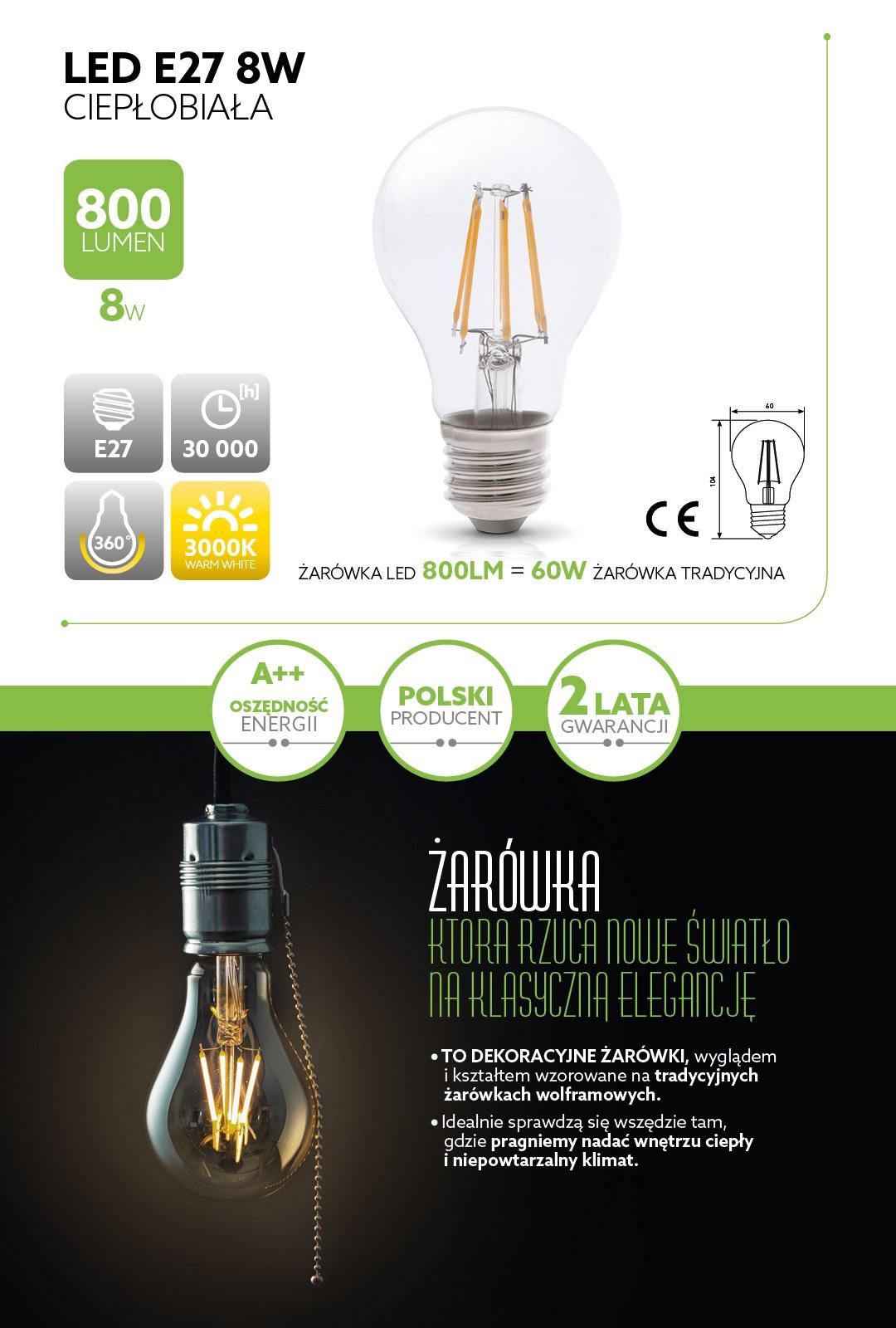żarówka LED Filament 8W